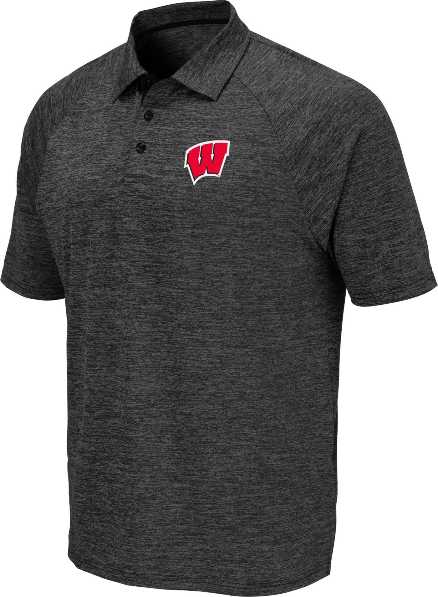 Colosseum Men's Wisconsin Badgers Grey Polo