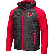 Colosseum Men's Wisconsin Badgers Grey/Red Baseplate Full-Zip Jacket