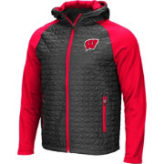 Colosseum Men's Wisconsin Badgers Grey/Red Baseplate Full-Zip Jacket
