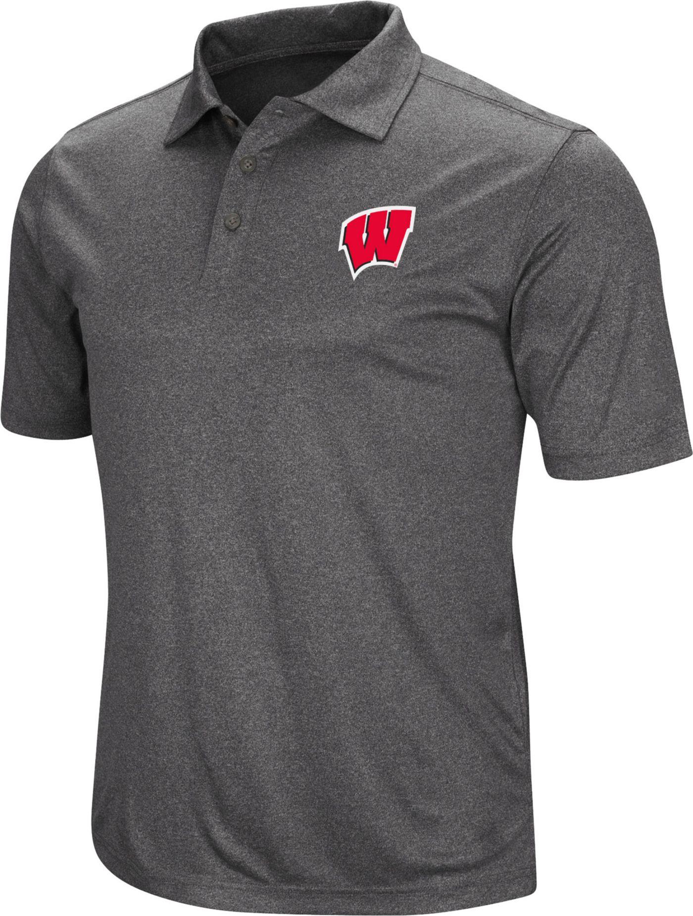 Colosseum Men's Wisconsin Badgers Grey Cutshot Polo