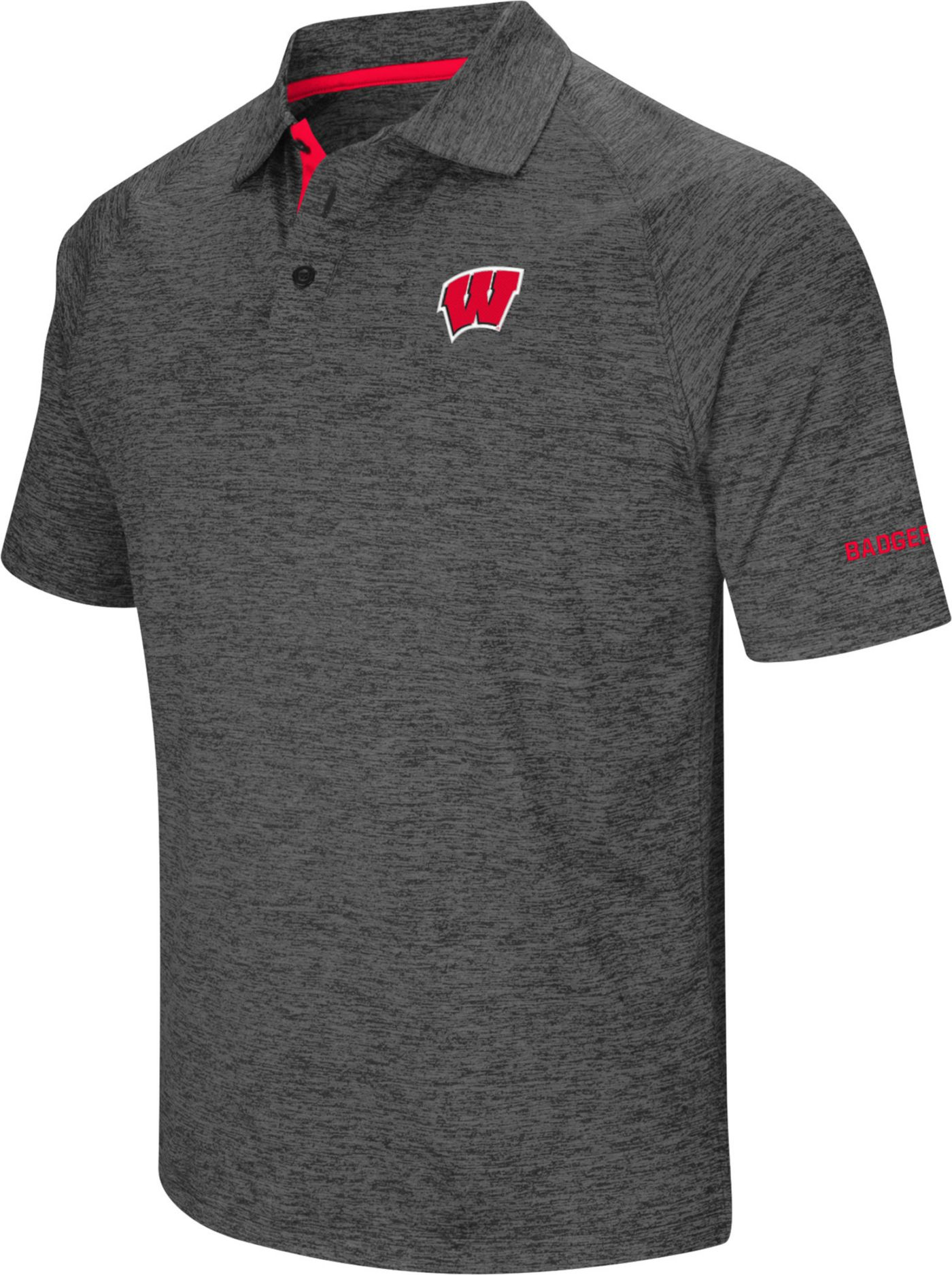 Colosseum Men's Wisconsin Badgers Grey Downswing Polo