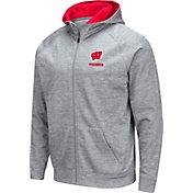 Colosseum Men's Wisconsin Badgers Grey Full-Zip Hoodie