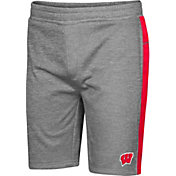 Colosseum Men's Wisconsin Badgers Grey Take A Knee Fleece Shorts