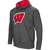 Colosseum Men's Wisconsin Badgers Grey Fleece Pullover Hoodie