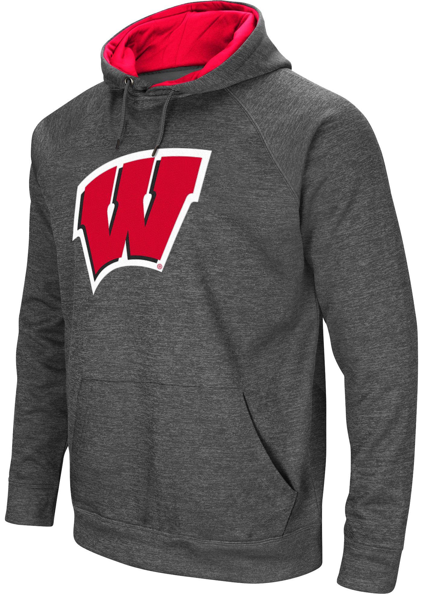 Colosseum Men's Wisconsin Badgers Grey Fleece Pullover Hoodie