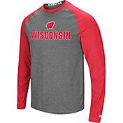 Colosseum Men's Wisconsin Badgers Grey/Red Social Skills Long Sleeve Raglan T-Shirt