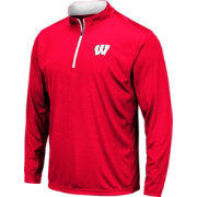 Colosseum Men's Wisconsin Badgers Red Embossed Quarter-Zip Performance Shirt