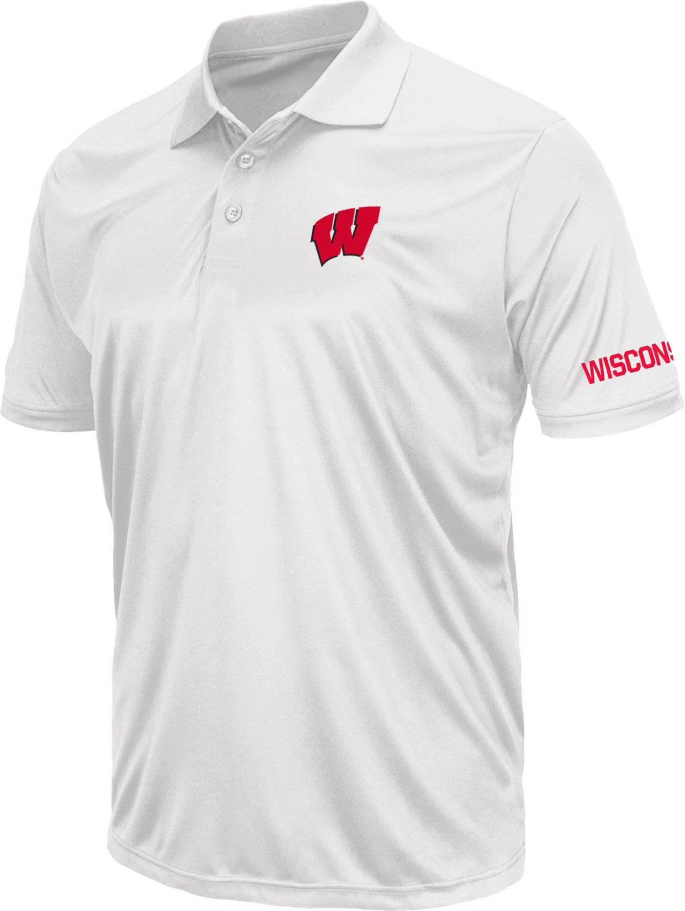 Colosseum Men's Wisconsin Badgers Stance White Polo