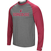 Colosseum Men's Washington State Cougars Grey/Crimson Social Skills Long Sleeve Raglan T-Shirt