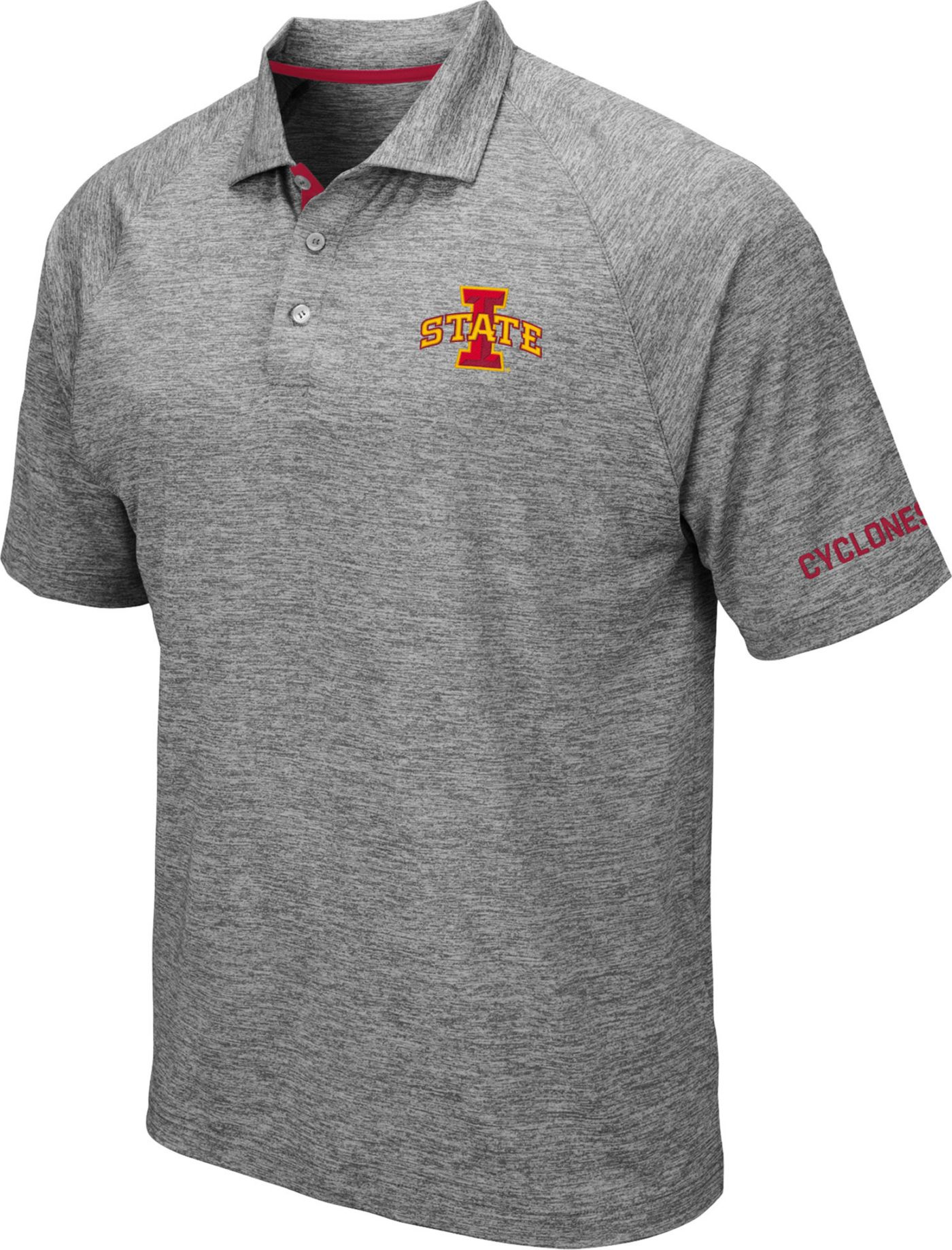 Colosseum Men's Iowa State Cyclones Grey Chip Shot Polo
