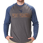 Colosseum Men's West Virginia Mountaineers Grey/Blue Social Skills Long Sleeve Raglan T-Shirt