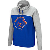 Colosseum Women's Boise State Broncos Blue/Grey The Talk Funnel-Neck Pullover