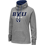 Colosseum Women's BYU Cougars Grey Funnel-Neck Pullover Sweatshirt