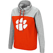 Colosseum Women's Clemson Tigers Orange/Grey The Talk Funnel-Neck Pullover