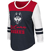 Colosseum Women's UConn Huskies Blue ¾ Sleeve Raglan T-Shirt