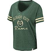 Colosseum Women's Colorado State Rams Green Savona V-Neck T-Shirt