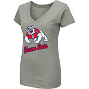 Colosseum Women's Fresno State Bulldogs Grey Dual Blend V-Neck T-Shirt