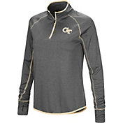 Colosseum Women's Georgia Tech Yellow Jackets Grey Shark Quarter-Zip Shirt