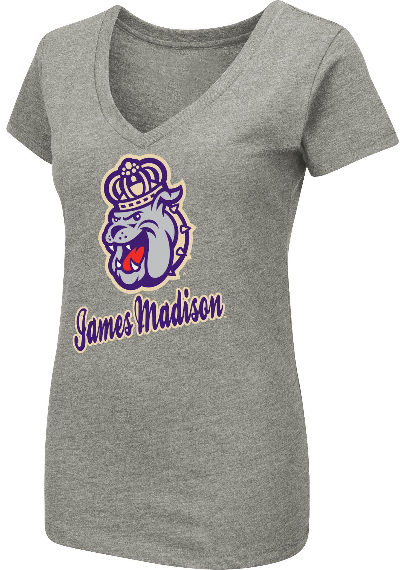 Colosseum Women's James Madison Dukes Grey Dual Blend V-Neck T-Shirt