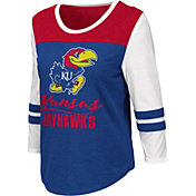 Colosseum Women's Kansas Jayhawks Blue ¾ Sleeve Raglan T-Shirt