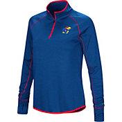 Colosseum Women's Kansas Jayhawks Blue Shark Quarter-Zip Shirt