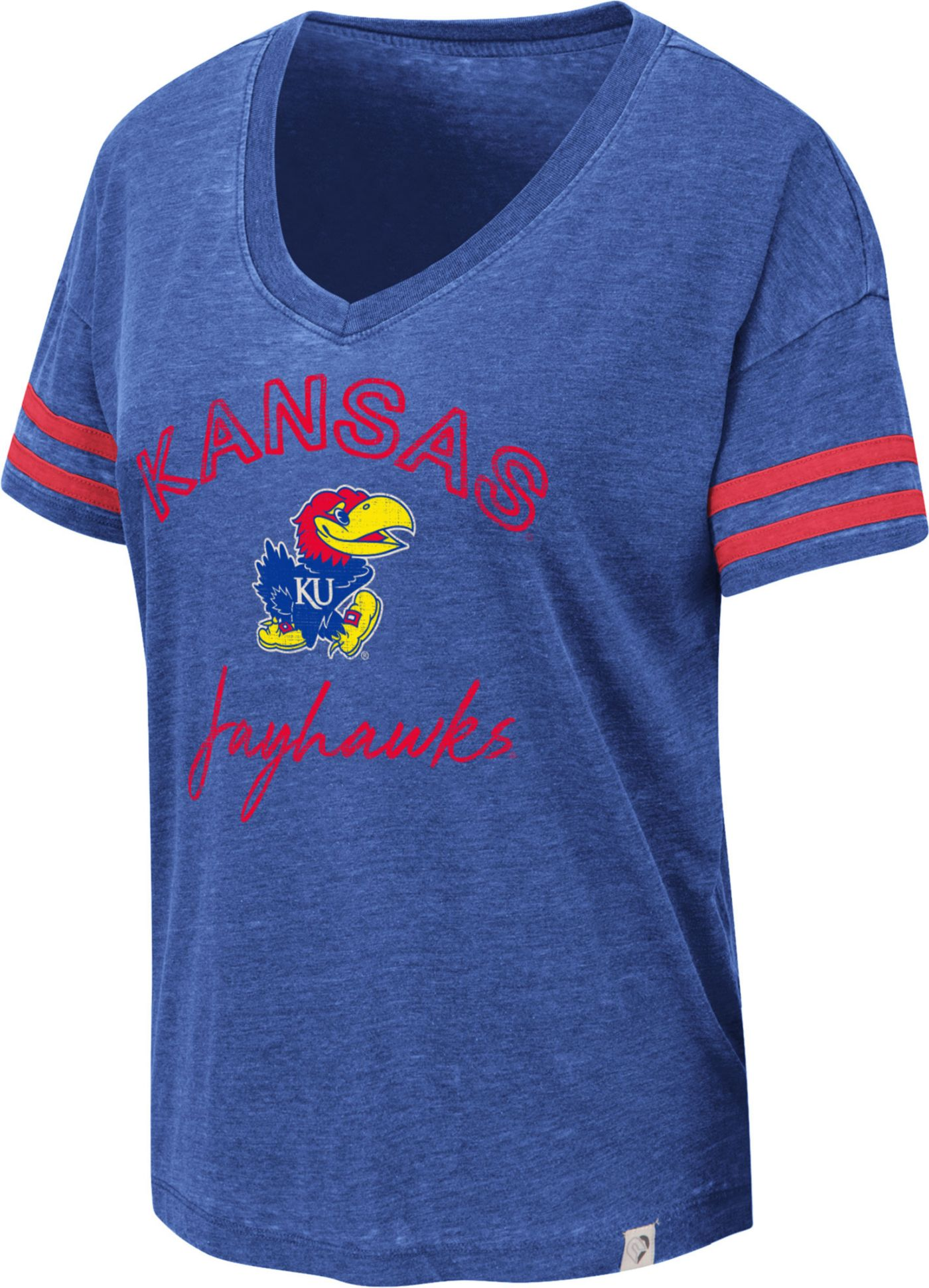 Colosseum Women's Kansas Jayhawks Blue Savona V-Neck T-Shirt