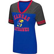 Colosseum Women's Kansas Jayhawks Blue/Grey The Whole Package T-Shirt