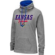 Colosseum Women's Kansas Jayhawks Grey Funnel-Neck Pullover Sweatshirt