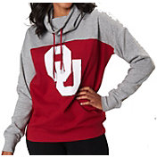 Colosseum Women's Oklahoma Sooners Crimson/Grey The Talk Funnel-Neck Pullover