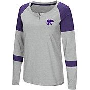 Colosseum Women's Kansas State Wildcats Grey Dorothy Long Sleeve Raglan T-Shirt