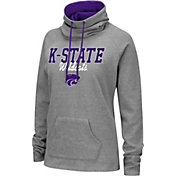 Colosseum Women's Kansas State Wildcats Grey Funnel-Neck Pullover Sweatshirt