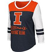 Colosseum Women's Illinois Fighting Illini Blue ¾ Sleeve Raglan T-Shirt