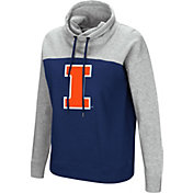 Colosseum Women's Illinois Fighting Illini Blue/Grey The Talk Funnel-Neck Pullover