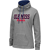 Colosseum Women's Ole Miss Rebels Grey Funnel-Neck Pullover Sweatshirt