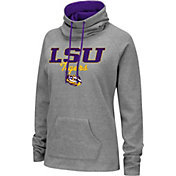 Colosseum Women's LSU Tigers Grey Funnel-Neck Pullover Sweatshirt