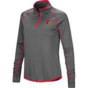 Colosseum Women's Louisville Cardinals Grey Shark Quarter-Zip Shirt