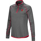 Colosseum Women's Louisville Cardinals Grey Shark Quarter-Zip Shirt