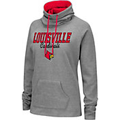 Colosseum Women's Louisville Cardinals Grey Funnel-Neck Pullover Sweatshirt