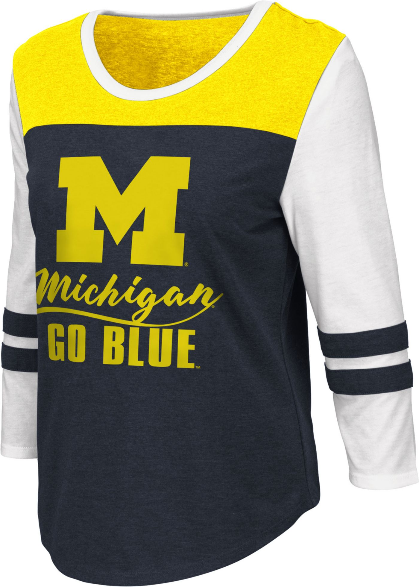 Colosseum Women's Michigan Wolverines Blue ¾ Sleeve Raglan T-Shirt