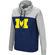 Colosseum Women's Michigan Wolverines Blue/Grey The Talk Funnel-Neck Pullover