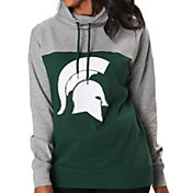 Colosseum Women's Michigan State Spartans Green/Grey The Talk Funnel-Neck Pullover