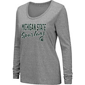 Colosseum Women's Michigan State Spartans Grey Tri-Blend Long Sleeve T-Shirt