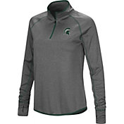 Colosseum Women's Michigan State Spartans Grey Shark Quarter-Zip Shirt