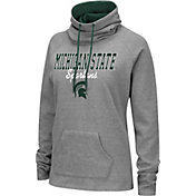 Colosseum Women's Michigan State Spartans Grey Funnel-Neck Pullover Sweatshirt