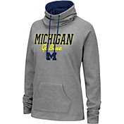 Colosseum Women's Michigan Wolverines Grey Funnel-Neck Pullover Sweatshirt