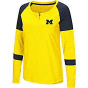 Colosseum Women's Michigan Wolverines Maize Dorothy Long Sleeve Raglan T-Shirt