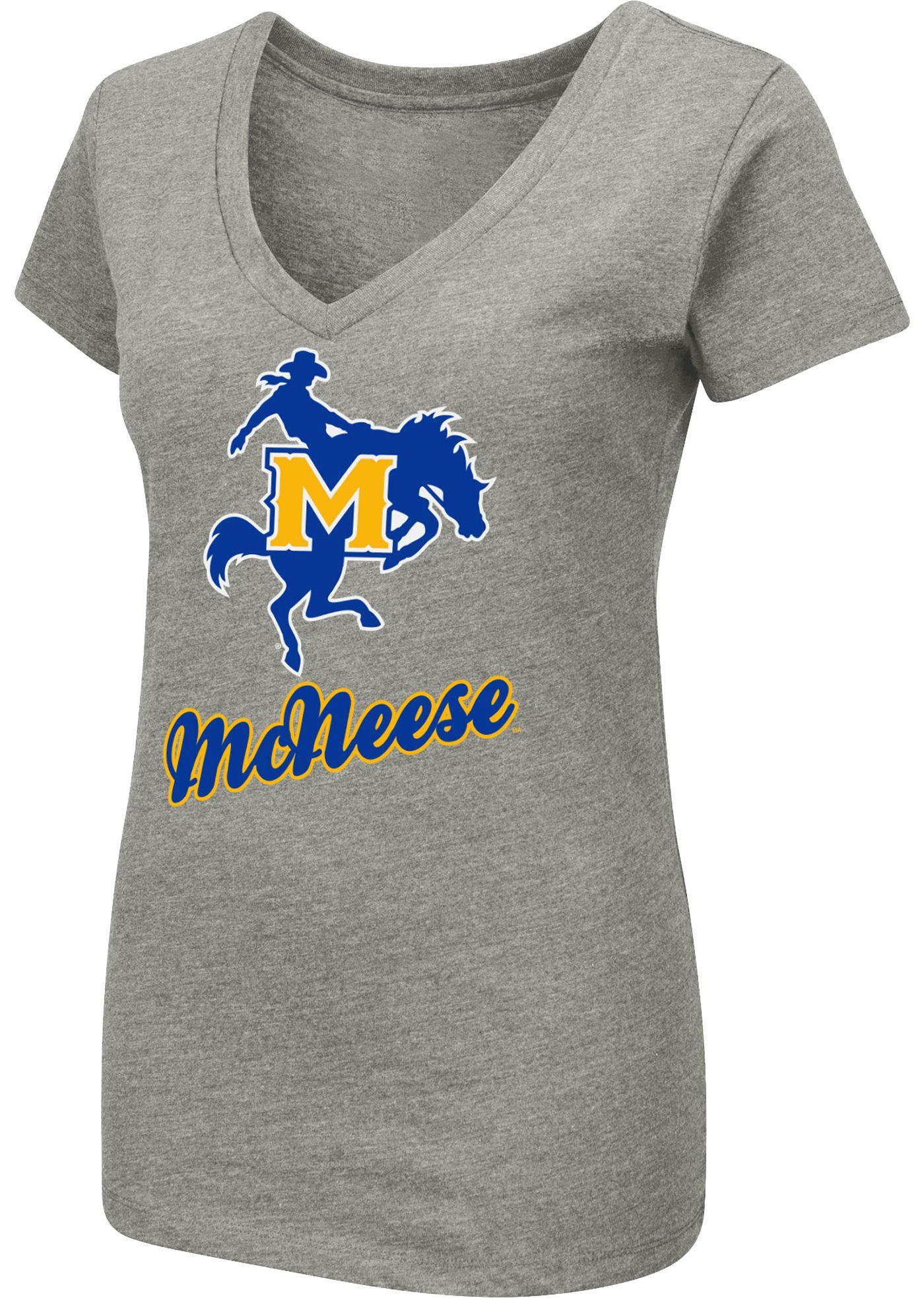 Colosseum Women's McNeese State Cowboys Grey Dual Blend V-Neck T-Shirt