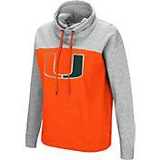 Colosseum Women's Miami Hurricanes Orange/Grey The Talk Funnel-Neck Pullover