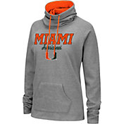 Colosseum Women's Miami Hurricanes Grey Funnel-Neck Pullover Sweatshirt
