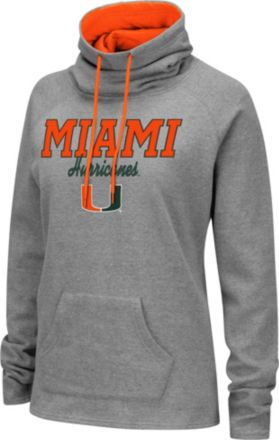 21b24ecf Colosseum Women's Miami Hurricanes Grey Funnel-Neck Pullover Sweatshirt